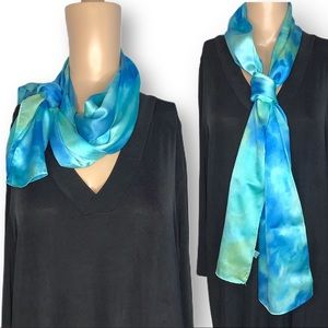 Hand tie dyed long silk scarf blue green ocean